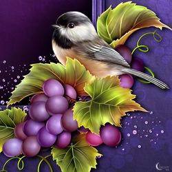 Пазл онлайн: Птичка и виноград