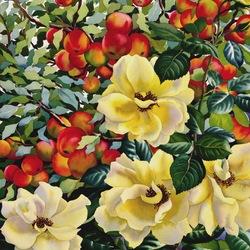 Пазл онлайн: Розы и яблоки