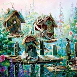 Пазл онлайн: Птичьи домики