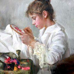 Пазл онлайн: Вышивальщица