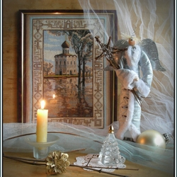 Пазл онлайн: Рождественский натюрморт с вышивкой