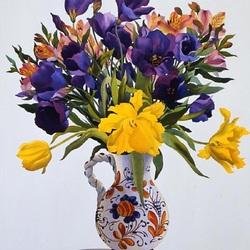Пазл онлайн: Эустома и тюльпаны