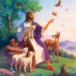 Пазл онлайн: Иисус и звери