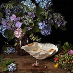 Пазл онлайн: Цветы и рыбки