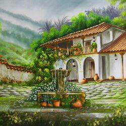 Пазл онлайн: Двор с фонтаном