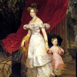 Пазл онлайн: Портрет великой княгини Елены Павловны с дочерью Марией