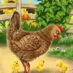 Пазл онлайн: Курица-наседка