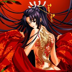 Пазл онлайн: Девушка с татуировкой дракона