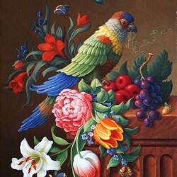 Пазл онлайн: Цветы и попугай