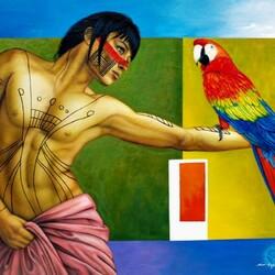 Пазл онлайн: Юноша с попугаем