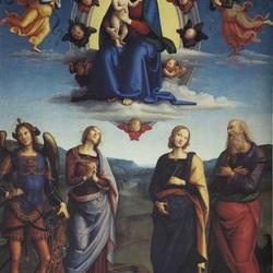 Пазл онлайн: Мадонна с младенцем во славе, в окружении архангела Михаила и святых