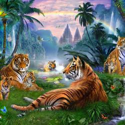 Пазл онлайн: Фантазия с тиграми