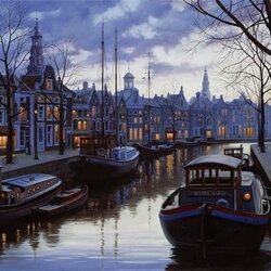 Пазл онлайн: Сумерки в Амстердаме