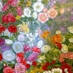 Пазл онлайн: Цветы у плетня