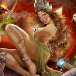 Пазл онлайн: Девушка и змеи