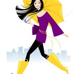 Пазл онлайн: Желтый зонт