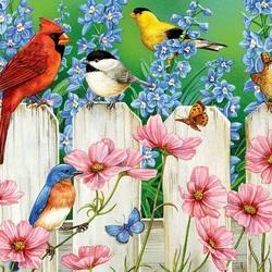 Пазл онлайн: Птицы на заборе