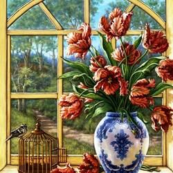 Пазл онлайн: Тюльпаны на окне