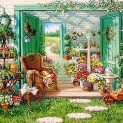 Пазл онлайн: Цветочный магазин