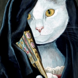 Пазл онлайн: Кошечка под вуалью