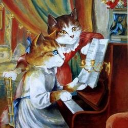 Пазл онлайн: Кошечки за фортепиано