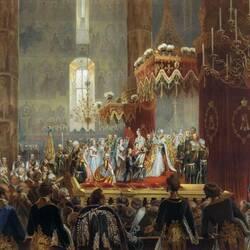 Пазл онлайн: Поздравления, приносимые Его величеству императору Александру II членами императорской фамилии после совершения коронования 26 августа 1856 года