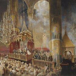 Пазл онлайн: Коронация Александра II в Успенском соборе Московского Кремля 26 августа 1856 года