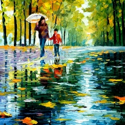 Пазл онлайн: Прогулка под дождём