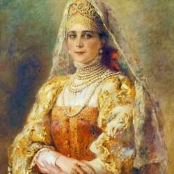 Пазл онлайн: Портрет княгини Зинаиды Юсуповой в русском костюме