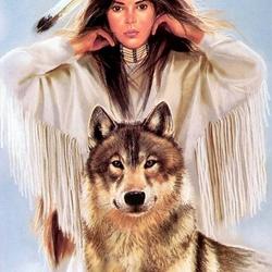 Пазл онлайн: Девушка и волк