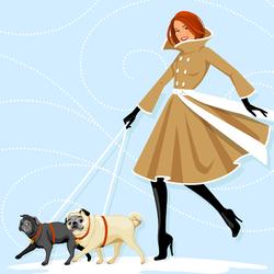 Пазл онлайн: Модница и два мопса
