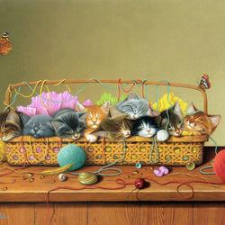 Пазл онлайн: Кошки в корзине