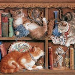 Пазл онлайн: Кошачьи игры