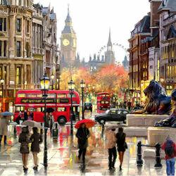 Пазл онлайн: Дождь в Лондоне