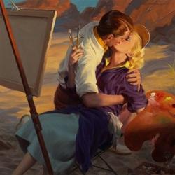Пазл онлайн: Картинный поцелуй