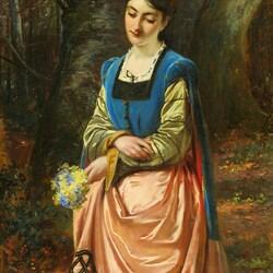 Пазл онлайн: Девушка с весенним букетом
