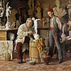 Пазл онлайн: В мастерской скульптора