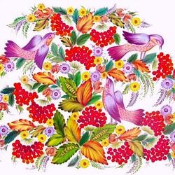 Пазл онлайн: Рябиновые гроздья. Петриковская роспись