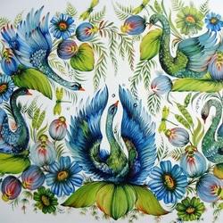 Пазл онлайн: Лебеди.Петриковская роспись