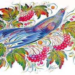 Пазл онлайн: Синяя Птица Счастья.Петриковская роспись
