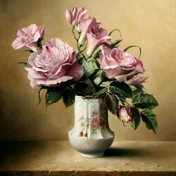 Пазл онлайн: Розы в керамической вазе