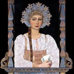 Пазл онлайн: Портрет русской красавицы