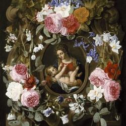 Пазл онлайн: Мадонна в цветочной гирлянде
