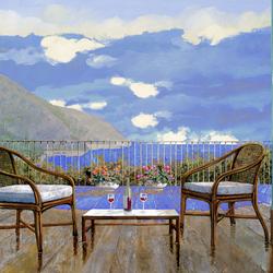 Пазл онлайн: Балкон с видом на озеро