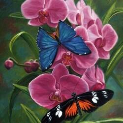 Пазл онлайн: Бабочки и орхидея