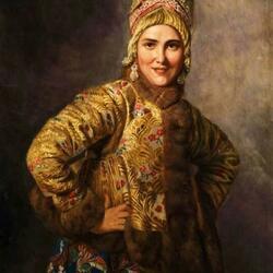 Пазл онлайн: Девушка в русском платье