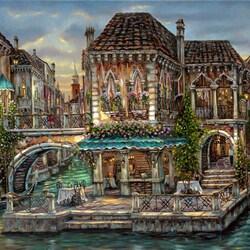 Пазл онлайн: Венецианское кафе