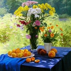 Пазл онлайн: Натюрморт с абрикосами
