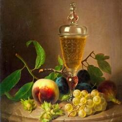 Пазл онлайн: Натюрморт с фруктами и вином