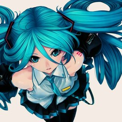 Пазл онлайн: Девочка с голубыми волосами